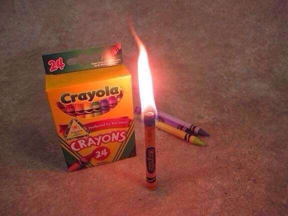 In Case Of A Emergency A Crayon Will Burn For 30 Minutes Like A Candle.