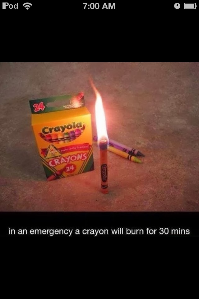 Crayons Burn For 30 Minutes If You Don't Have A Candle. 🔥