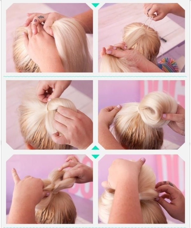 Cute Bow Bun, Quick And Easy Way To Style Hair