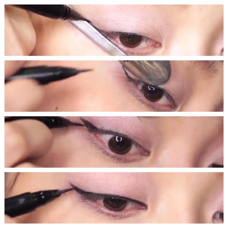 Как нарисовать стрелки на глазах с помощью ложки