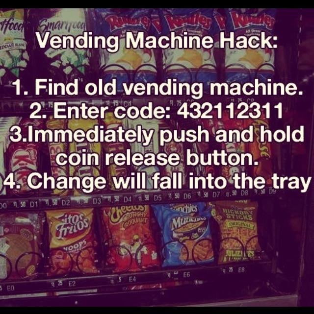 code to hack vending machine