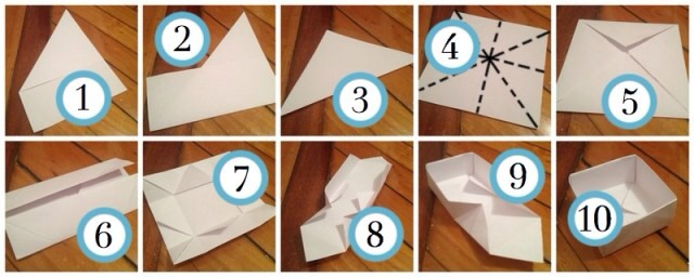 how to fold paper to make an open box