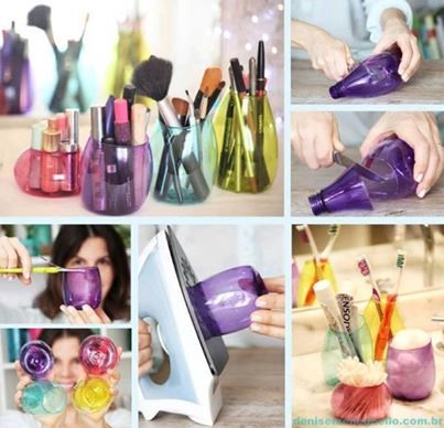 Turn Plastic Bottles Into These Pretty Storage Jars. Great For The Bathroom!