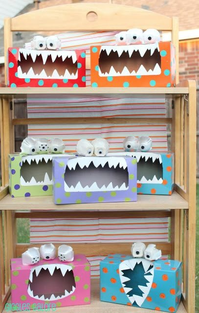 Turn old tissue boxes into toothy monsters!  Great For Kids Tiny Toys Storage.