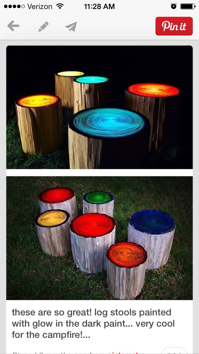 outdoor awesomeness paint logs with glow in the dark paint trusper. Black Bedroom Furniture Sets. Home Design Ideas