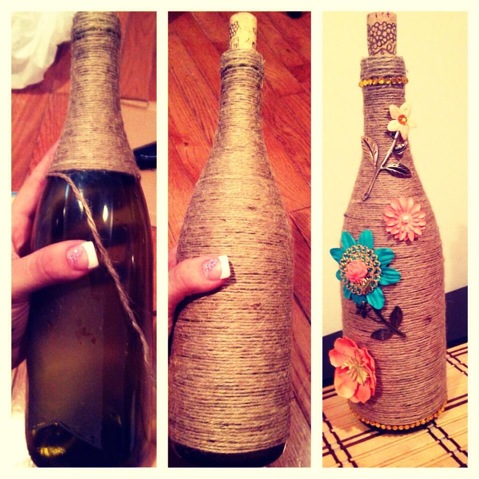Use wine bottles to decorate trusper for Bottle decoration