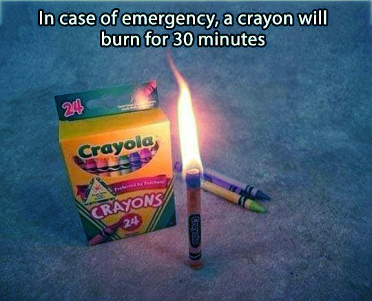 Crayons Burn Like Candles For 30 Minutes In A Blackout Emergency!
