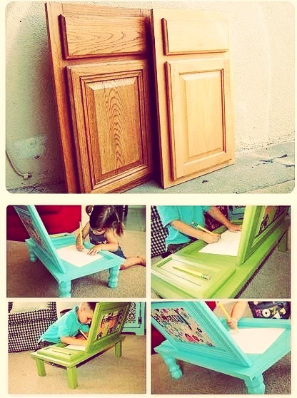 A cool way to use old kitchen doors and turn them into art for How to turn an old door into a table