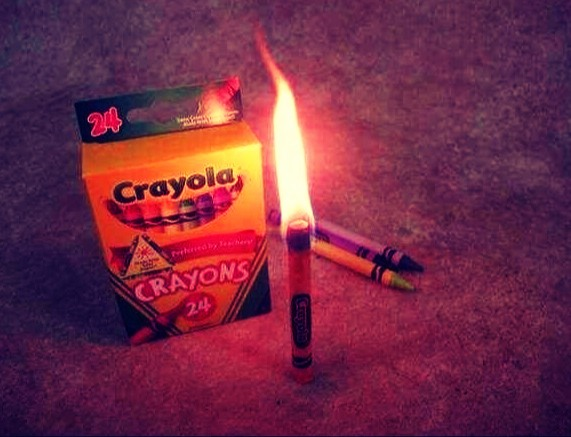 """Crayons Used As An Emergency Candle"""