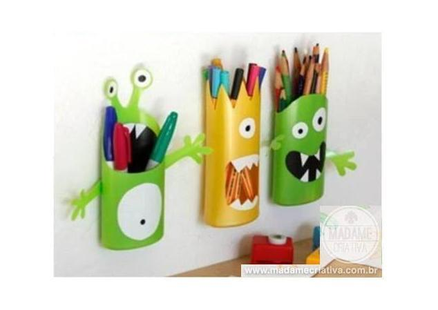 Turn Shampoo Bottles Into Monster Pencil Holders